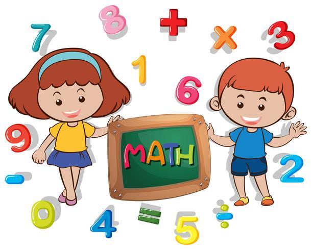 Pojke och tjej med många siffror