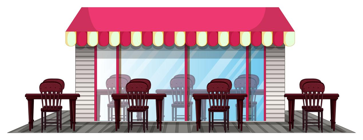Diseño de restaurante con comedor exterior.