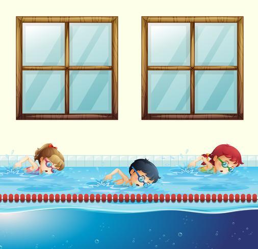 Três crianças, natação, em, a, piscina