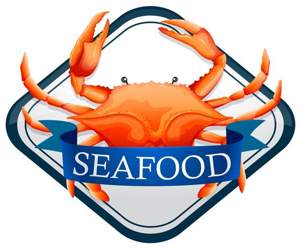 Färsk krabba med blå skaldjur skylt
