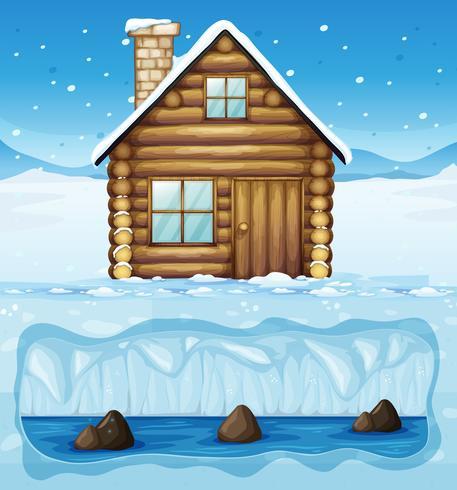Uma cabana de inverno no Pólo Norte