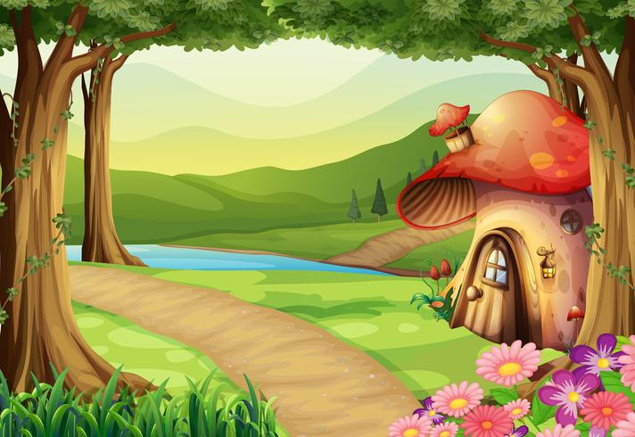 Casa de cogumelo na floresta