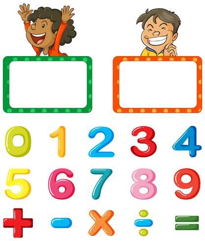 Grens sjabloon en lettertype ontwerp voor cijfers vector