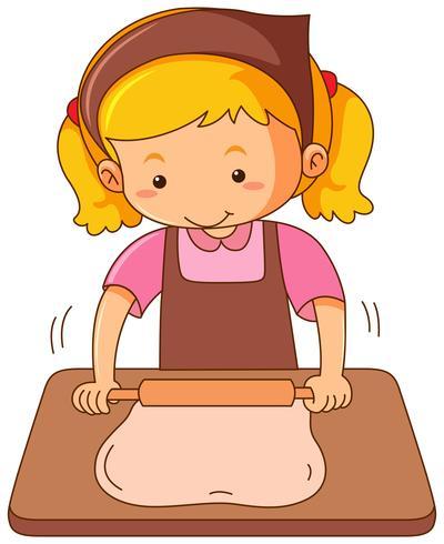 Girl with rollingpin baking dough