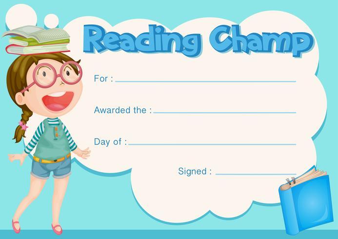 Certificaatsjabloon met meisje en boek achtergrond