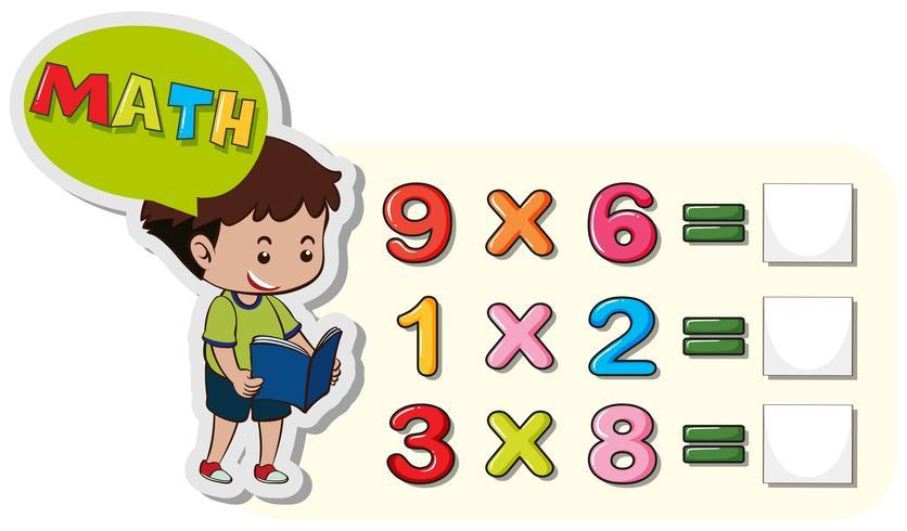 Math kalkylblad mall med pojke och multiplikationsproblem vektor