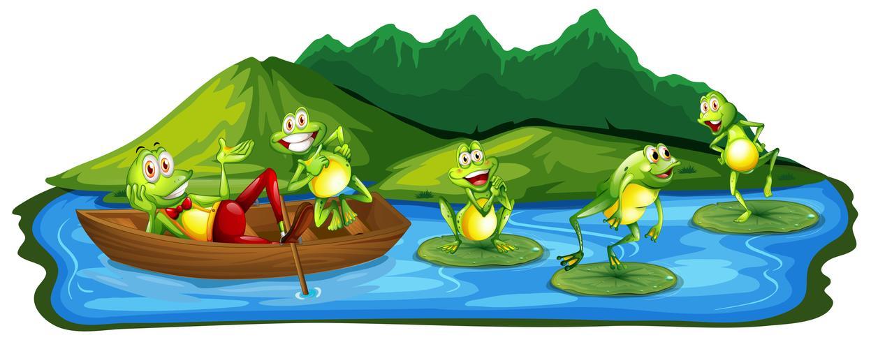 Lyckliga grodor vid dammen vektor