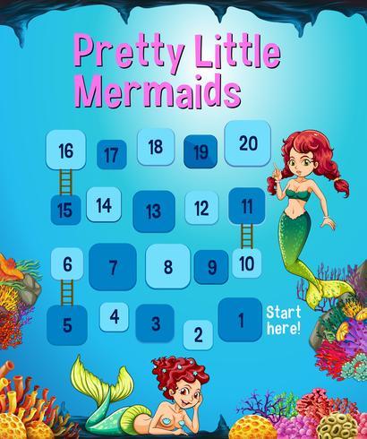 Boardgame template with mermaid in the ocean vector