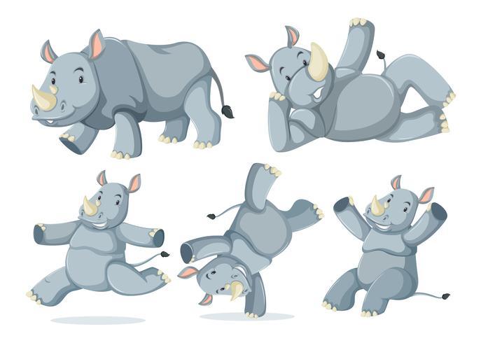 Set of cute rhinos vector