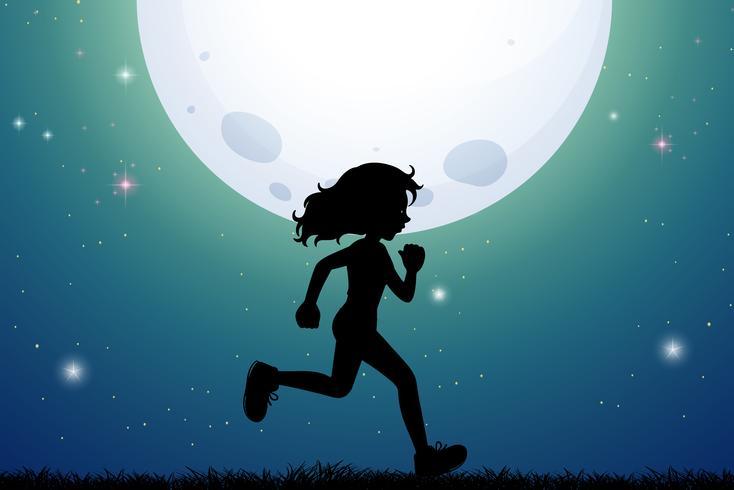 Silueta, de, niña, jogging, en el estacionamiento