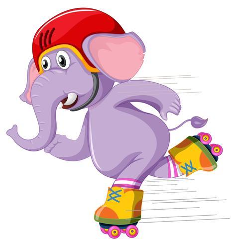 Un éléphant jouant au roller