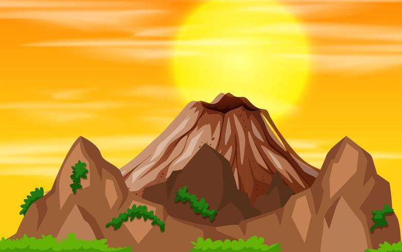 Ett berg solnedgången vektor