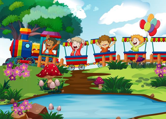 Bambini felici sul treno