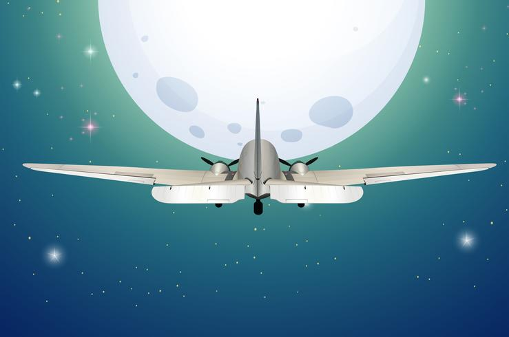 Un aeroplano in volo verso la luna