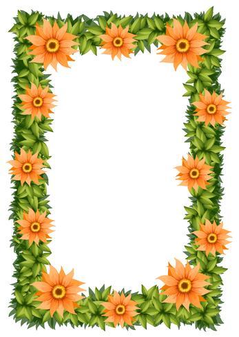 Ramdesign med orange blommor vektor