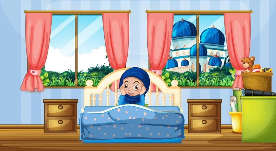 Een moslimmeisje in de slaapkamer