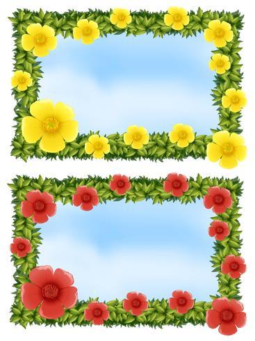 Två blomramar med himmelbakgrund