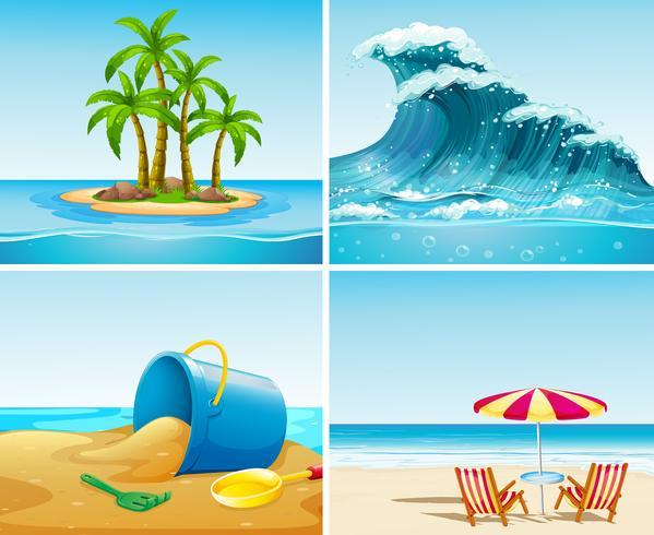 Vier scène van oceaan in de zomertijd