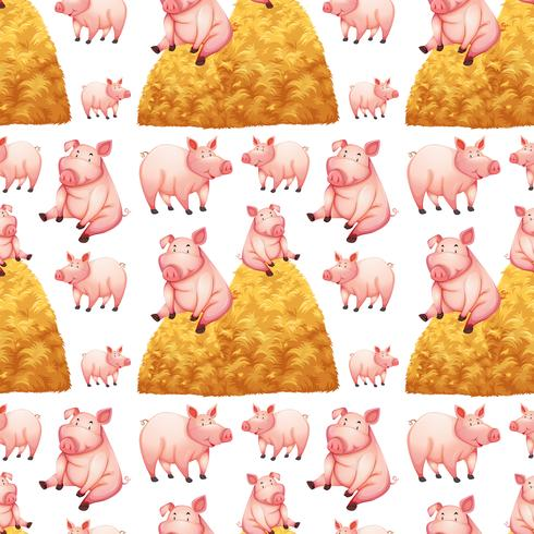 Nahtloser Hintergrund mit Schweinen und Heuschober