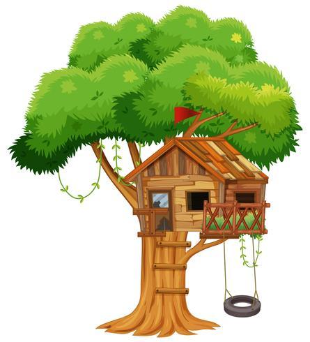 Gammalt trädhus på grenen vektor