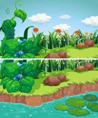 Zwei Szenen des Parks mit Blumen und Fluss