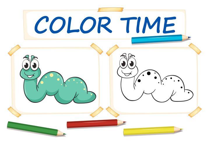 Modèle de coloration avec ver mignon