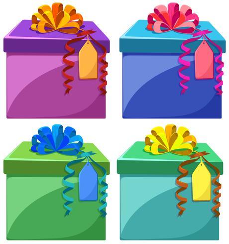 Caixas de presentes em cores diferentes