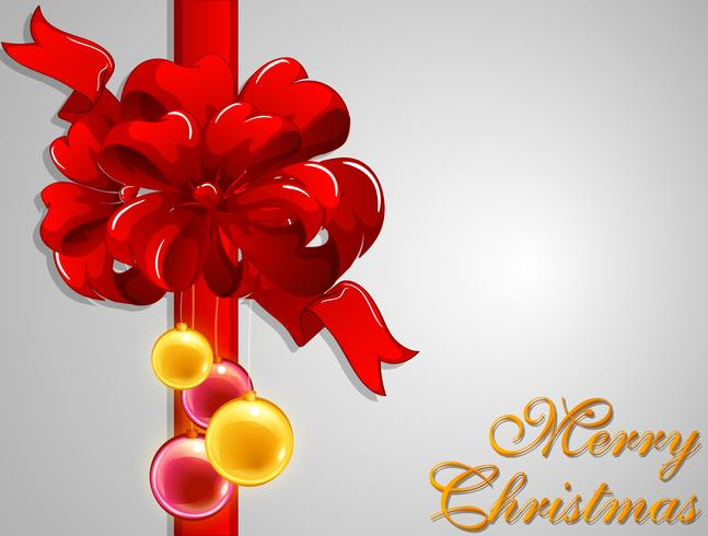 Merry Christmas card with red ribbon vector