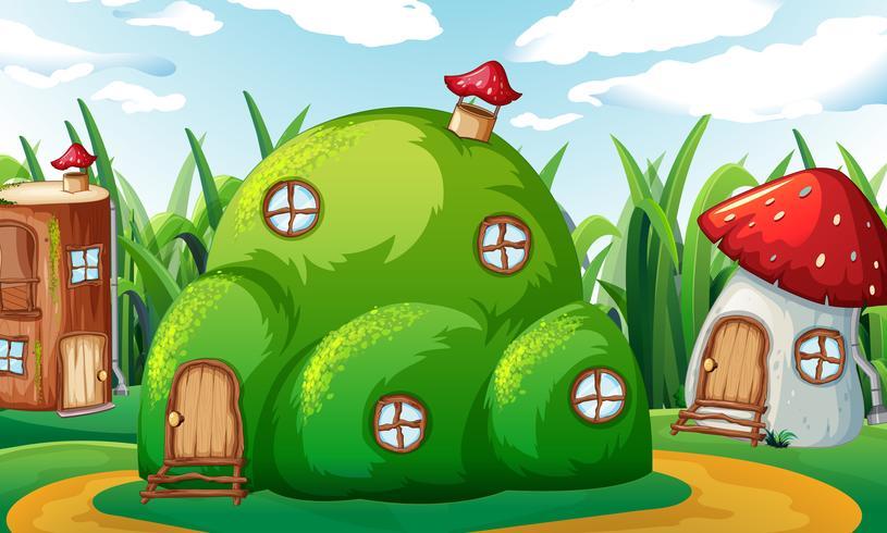 Una casa magica incantata vettore