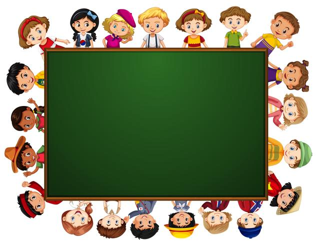 Blackboard with many kids around the border vector