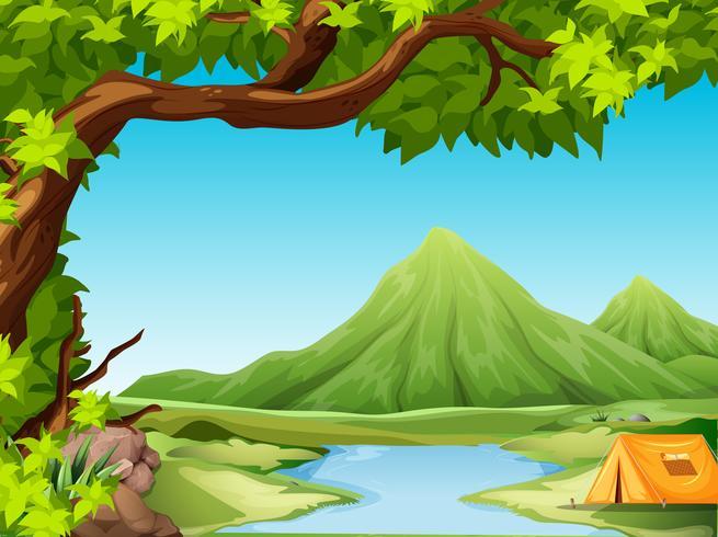 Campeggio nel paesaggio naturale vettore