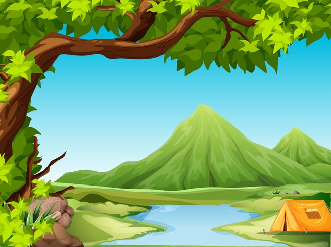 Camping en el paisaje natural.