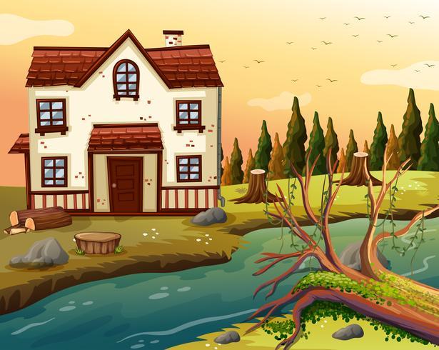 Backsteinhaus am Fluss