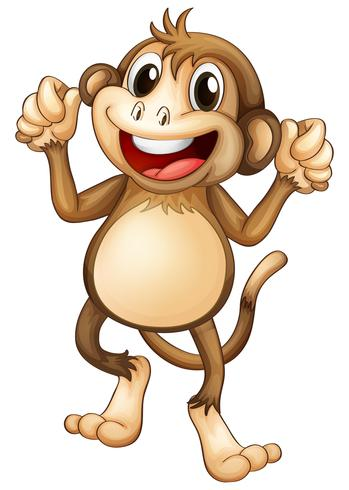 Happy monkey dancing alone vector