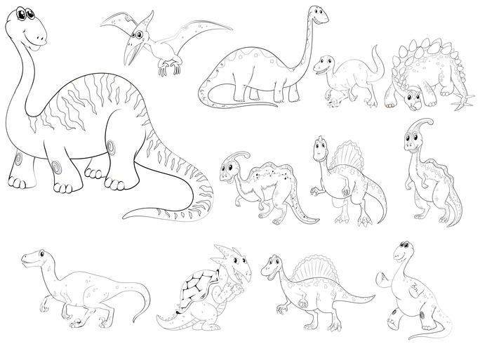Profilo animale per diversi tipi di dinosauri