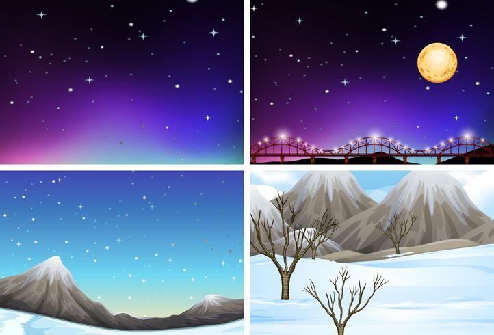 Set of different landscape scenes vector