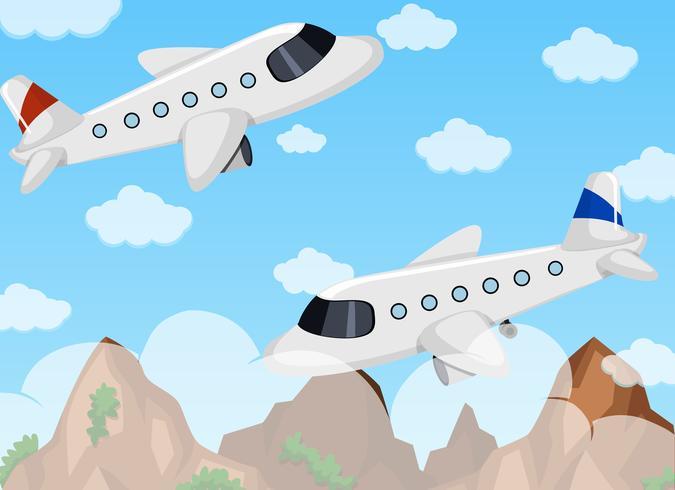Två flygplan som flyger på himlen