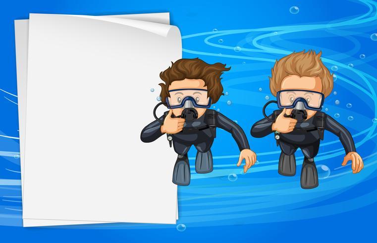 Modelo de papel com dois mergulhadores