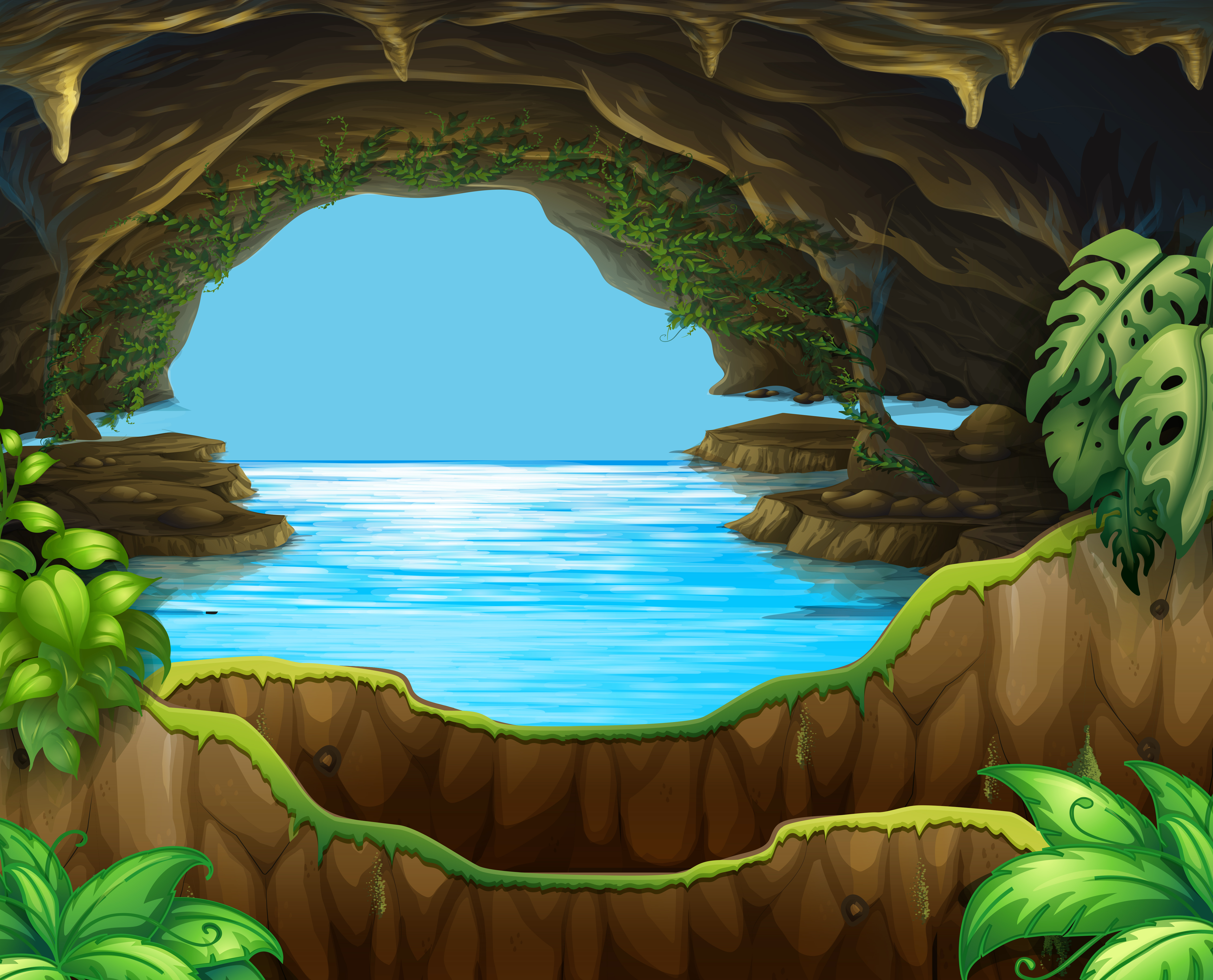 Natural water in cave - Download Free Vectors, Clipart ...