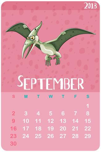 Kalendersjabloon voor september met pterosaur vector