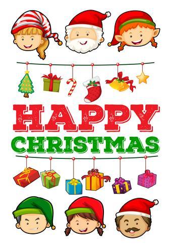Carte de Noël avec des ornements de Noël