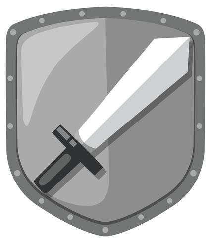 Logotipo de escudo de espada isolado