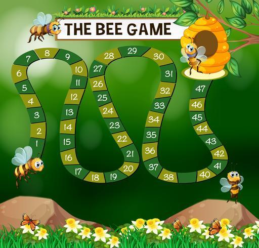 Spelmalplaatje met bijen die in tuin vliegen