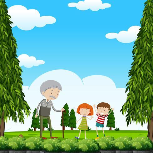 Grand-père et enfants dans le parc