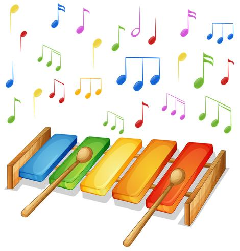 Xylofoon met muziek notities achtergrond