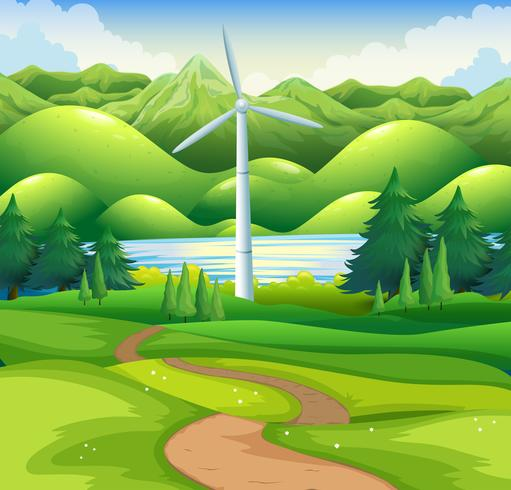 Windmill tower in the field vector
