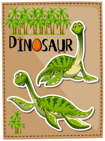 Green dinosaur with happy face vector
