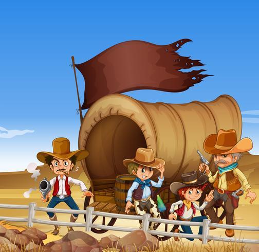 Cowboys e vagão no campo do deserto