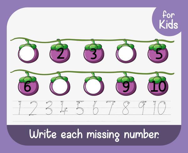 Write each missing number worksheet