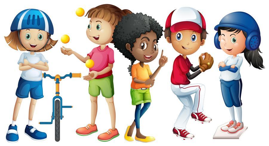 Muitas crianças em diferentes equipamentos esportivos